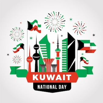 Flat design kuwait national day fireworks