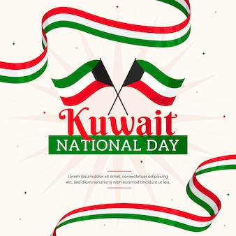 Flat design kuwait national day and flags