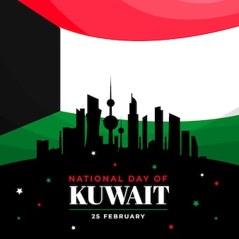 Flat design kuwait national day illustration