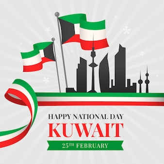Flat design kuwait national day silhouette of the city