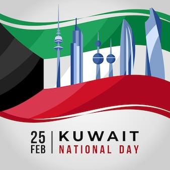 フラットデザインクウェート建国記念日