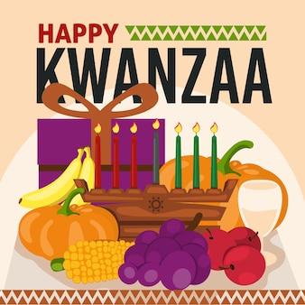 Flat designkwanzaa fruit and gifts