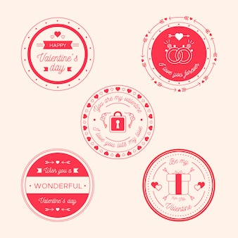 Flat design label collection for valentine's day