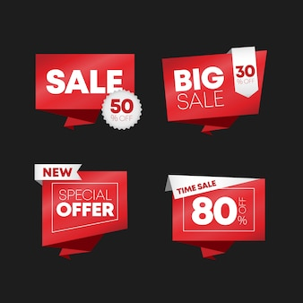 Flat design of labels. collection of sale tags.