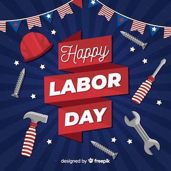 Flat design labor day background