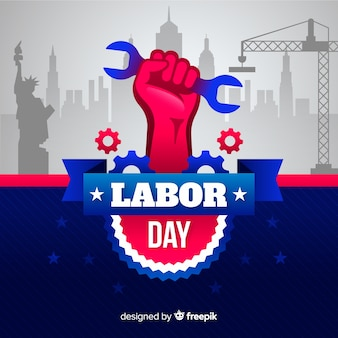 Flat design labor day background