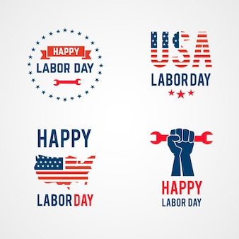 Flat design labor day badge collection