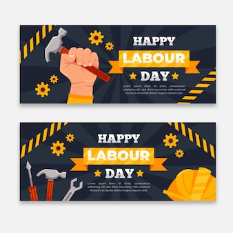 Flat design labor day banners template
