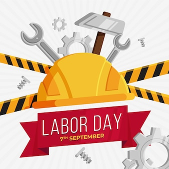 Flat design labor day concept