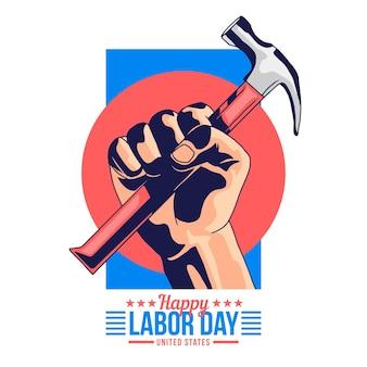 Flat design labor day illustration