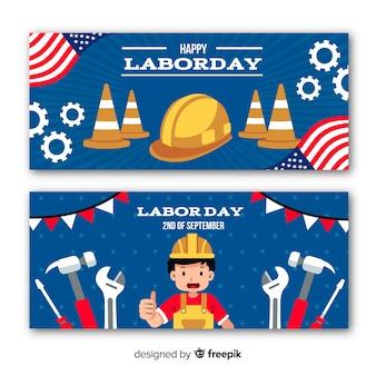 アメリカのバナーでフラットなデザインの労働者の日