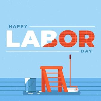 アメリカイラストのフラットデザイン労働者の日
