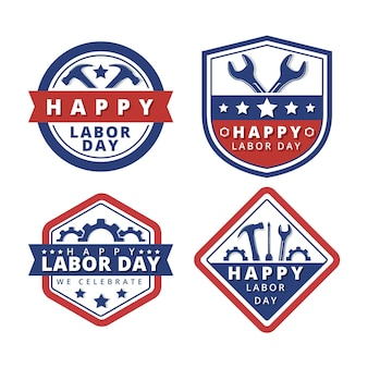 Flat design labor day label collection