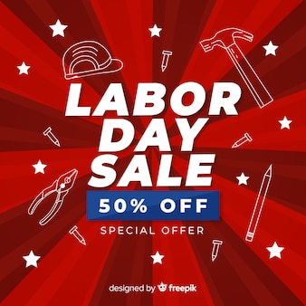 Flat design labor day sale banner