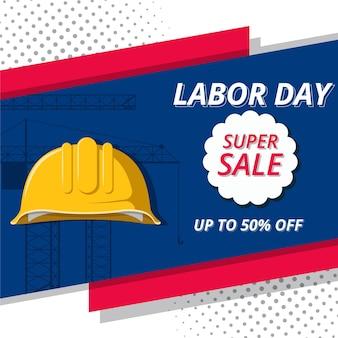 Flat design labor day sale campaign