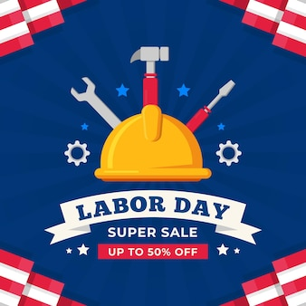 Flat design labor day sale concept
