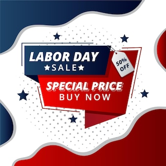Flat design labor day sale design