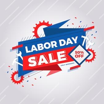 フラットデザイン労働日セール