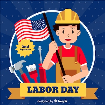 Flat design labor day in usa background