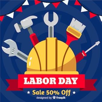 Flat design labor day in usa banner