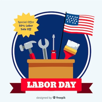 Flat design labor day in usa banner