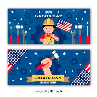 Flat design labor day in usa banners