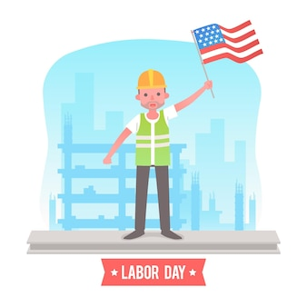 Flat design labor day usa concept