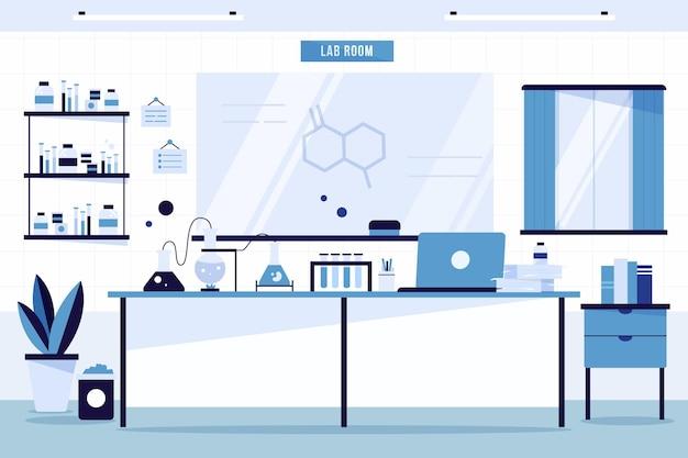 Плоский дизайн лабораторного помещения с доской