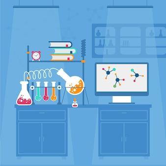 Плоский дизайн лабораторного помещения с колбой