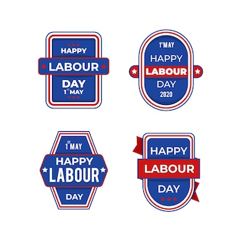 Flat design labour day badge collection