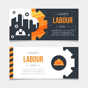 Flat design labour day banners set