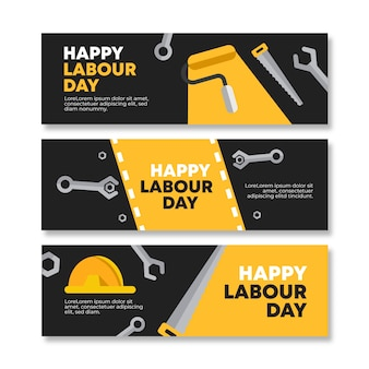 Flat design labour day banners
