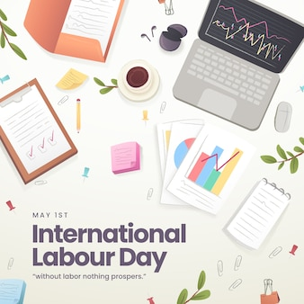 Flat design labour day celebration