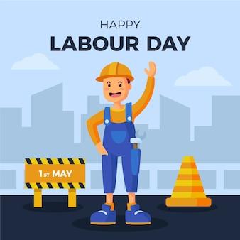 Flat design labour day cheering worker