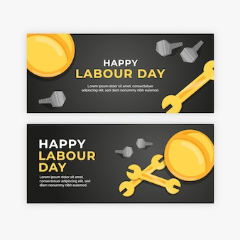 Flat design labour day horizontal banners
