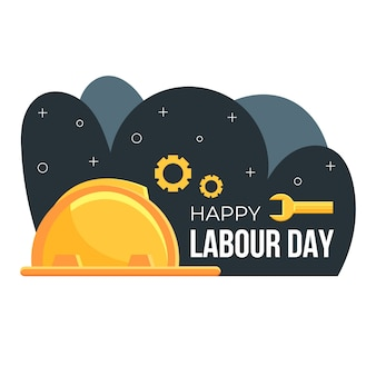 Flat design labour day illustration with helmet