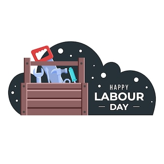 Flat design labour day illustration with tool box