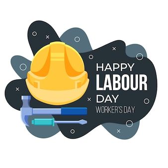 Flat design labour day illustration with tools and helmet