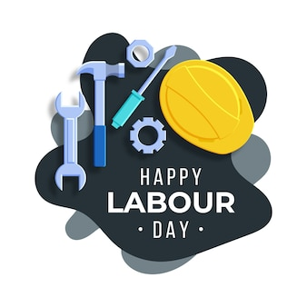 Flat design labour day illustration with tools