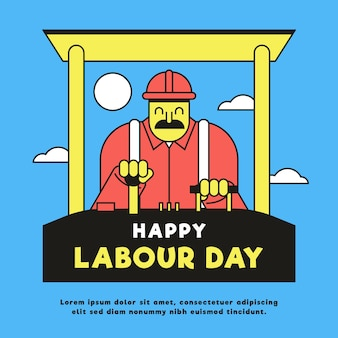 Flat design labour day illustration