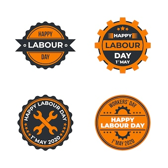 Flat design labour day label collection