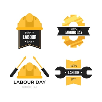 Flat design labour day label pack