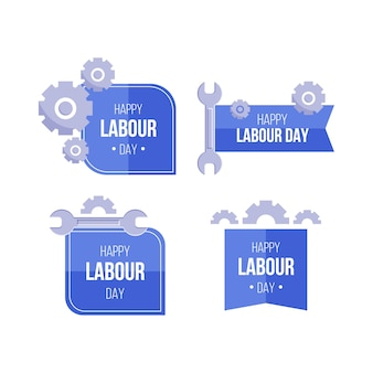 Flat design labour day label set