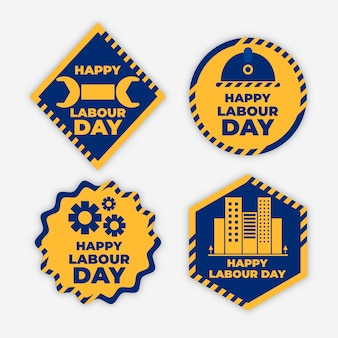 Flat design labour day labels collection