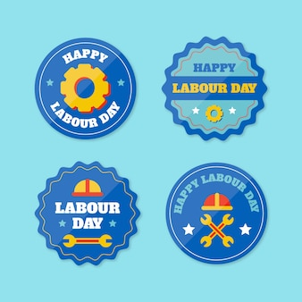 Flat design labour day labels