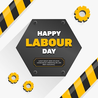 Flat design labour day lettering
