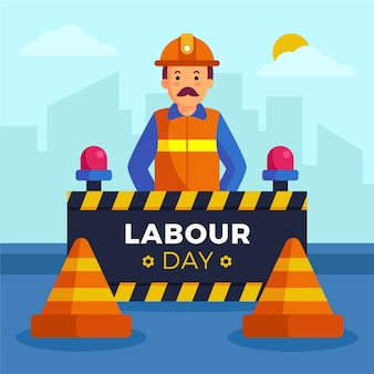 Flat design labour day man wearing reflective jacket
