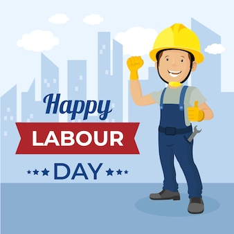 Flat design labour day and man with helmet