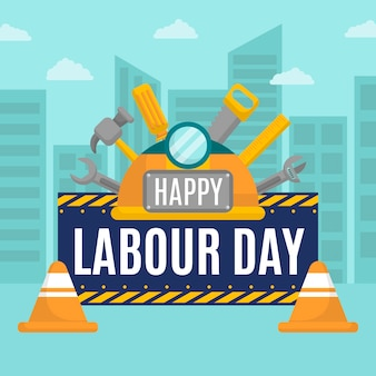 Flat design labour day theme