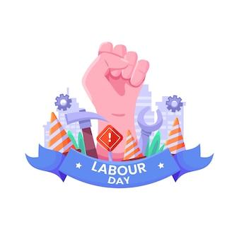 Flat design labour day unity